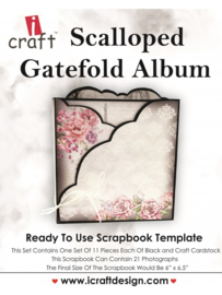 iCraft - Scalloped Gatefold Album - Ready to Use Scrapbook Template.​
