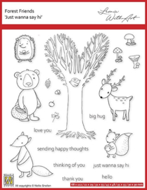 """Nellie's clear stamp forest friends """"just wanna say hi"""" FFECS003"""