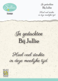 Nellie's Choice Clear Stamps - (NL) In gedachten bij jullie… Dutch Condolence Text Clear Stamps 66x58mm