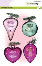CraftEmotions clearstamps A5 - Kerstballen met losse tekst (NL) Dimensional stam