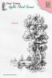 "Nellie Snellen -   IFS014 Clear stamps Idyllic Floral scenes ""tree with boat"""