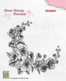 Nellie's Choice - FLO031 - Clear Stamps flowers - Blossom corner