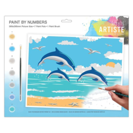 docrafts artiste Large Painting By Numbers - Leaping Dolphins