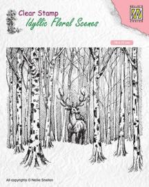 """Nellie snellen IFS017 Idyllic Floral scenes """"Deer in forest"""" 95x126mm"""
