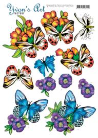 3D knipvel - Yvon's Art - Butterflies Blue