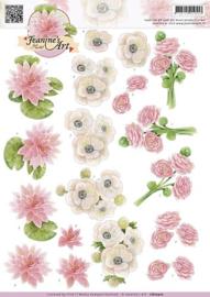 3D Knipvel - Jeanines Art - Wit roze bloemen CD10510