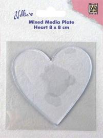 NMMP006 Mixed Media Plate Heart 8 x 8 cm