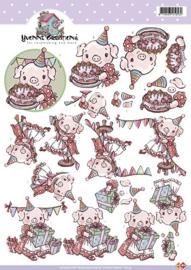 3D Knipvel - Yvonne Creations - Feestvarken - CD10154