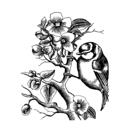 Crafty Individuals CI-506 - 'Little Bluebird amongst Blossoms' Unmounted Rubber Stamps