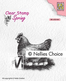 """SPCS019 Clear Stamps Spring """"mother hen"""" 60x52mm"""