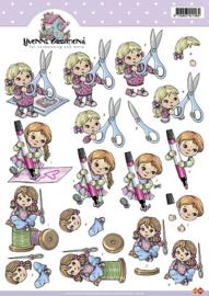 3D Knipvel - Yvonne Creations - Meisje met schaar - CD10185