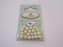 Glass Pearls, round, 8mm, Beige, 20pcs