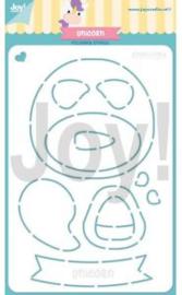 Joy! stencil  Polybesastencil - Jocelijne - Eenhoorn 6002/0893