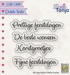 "Nellie Snellen - DTCS025 Clear stamps Dutch texts ""Prettig Feestdagen etc...."""