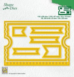 Nellies Choice Shape Die - ticket boekje SD178 118x80/30x20mm 7 stuks