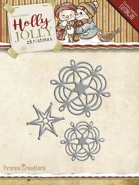 Die - Yvonne Creations - Holly Jolly - Snowflake and Star YCD10073