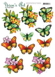 3D Knipvel - Yvon's Art - Butterflies orange