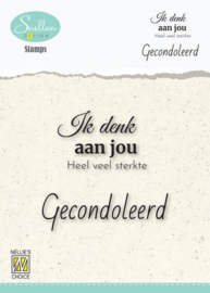 Nellie's Choice Clear Stamps - (NL) Ik denk aan jou… Dutch Condolence Text Clear Stamps 60x68mm
