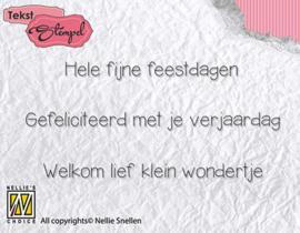 Nellie Snellen - Clear stamp Dutch texts - Feestdagen, verjaardag, geboorte  76x36 mm