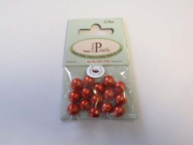 Glass Pearls, round, 10mm, Red, 15pcs