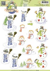 3D Knipvel - Jeanines Art - Snowmen CD10579