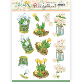 3D Push Out - SB10527 - Jeanine's Art Welcome Spring - Yellow Tulips