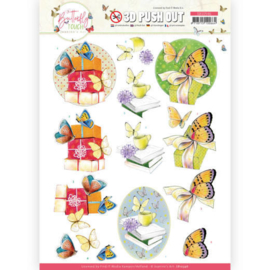 3D Push Out - SB10546 -Jeanine's  Art - Butterfly Touch - Yellow Butterfly