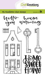 CraftEmotions clearstamps A6 - handletter - Nieuwe Woning 3 (Eng) Carla Kamphuis