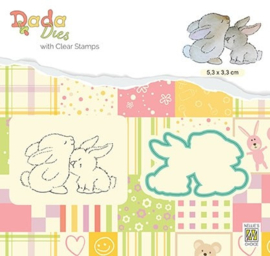 "Nellie snellen DDCS019 Die with clear stamps set: animals ""Hug"""