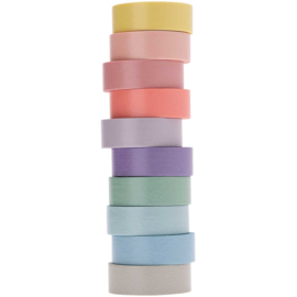 Rico Design - Paper Poetry Tape Set Pastel 10 stuks 1,5cm x 5 meter