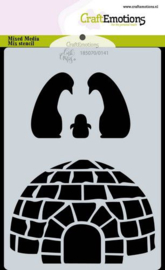 CraftEmotions Mask stencil Iglo en penguins A6 Carla Creaties