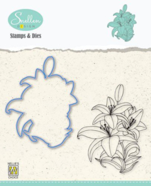 Nelie's Choice Flowers Die cut & clearstamp set Lelie HDCS005 62x78mm