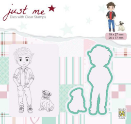 Nellie's Choice Just Me Die + Clear stamp Jongen met hond JMSD003 A4