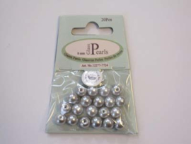 Glass Pearls, round, 8mm, Lt.Grey, 20pcs