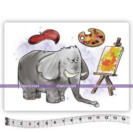 Katzelkraft - Van Gogh olifant - Rubber Stamp - KTZ269
