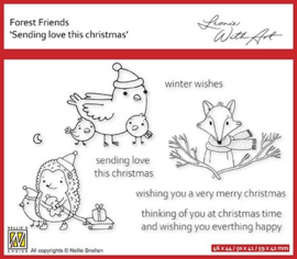 """Nellie's clear stamp forest friends """"sending love this christmas"""" FFECS004"""