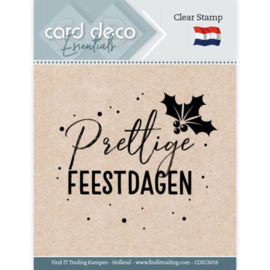 Card Deco Essentials CDECS016  - Clear Stamps - Prettige Feestdagen