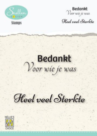 Nellie's Choice Clear Stamps - (NL) Bedankt voor wie je was… Dutch Condolence Text Clear Stamps 73x49mm