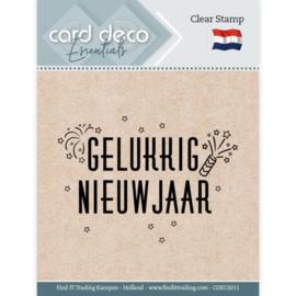 Card Deco Essentials CDECS011  - Clear Stamps - Gelukkig Nieuwjaar