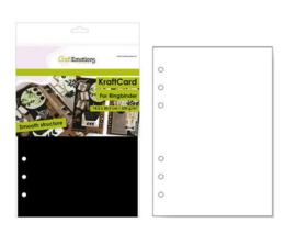 CraftEmotions karton kraft Ringband zwart 12 vel 14,5x20,5cm - 220 gr - 6 Ring A5