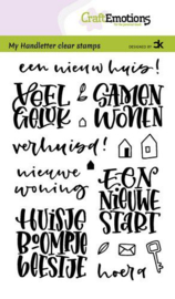 CraftEmotions clearstamps A6 - handletter - Nieuwe Woning tekst (NL) Carla Kamphuis