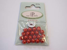 Glass Pearls, round, 8mm, Red, 20pcs
