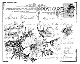 Crafty Individuals CI-302 Floral Postcard Unmounted Rubber Stamps