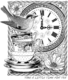 Crafty Individuals CI-389 Tea at Three Unmounted Rubber Stamps