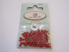 Glass Pearls, round, 4mm, Red, 80pcs