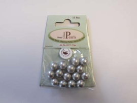 Glass Pearls, round, 10mm, Lt.Grey, 15pcs
