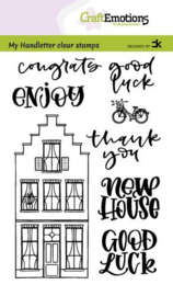CraftEmotions clearstamps A6 - handletter - Nieuwe Woning 2 (Eng) Carla Kamphuis