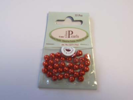 Glass Pearls, round, 6mm, Red, 35pcs