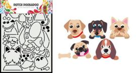 Dutch Doobadoo Card Art A5 Peek a boo hondjes 470.784.037 210x148,5mm