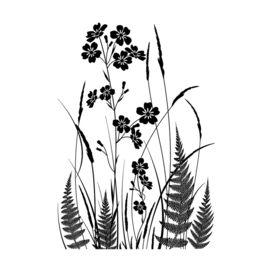 Crafty Individuals CI-493 - 'Wild Flowers and Ferns Silhouette